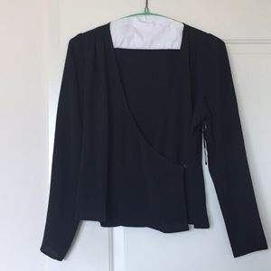 NWT Free Press long sleeve wrap blouse in black